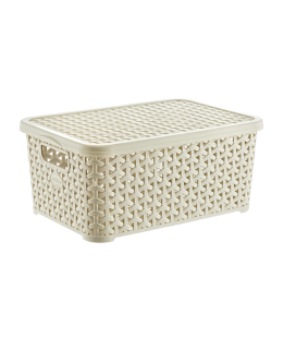 Large rattan basket with lid